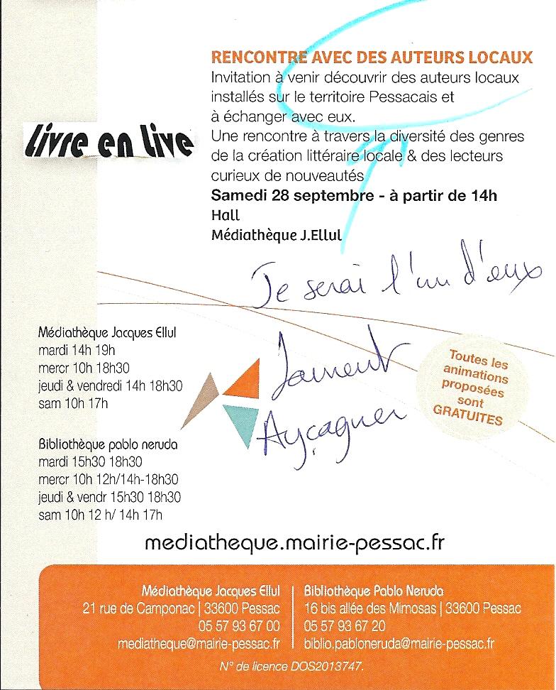 Dédicace Pessac Médiathèque 28 09 2013