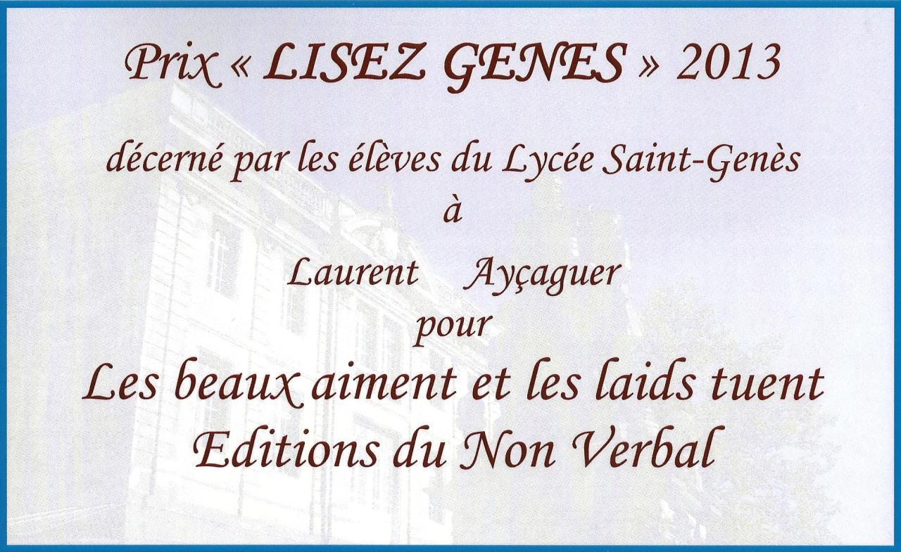 Prix littéraire lycée St Genes 2013